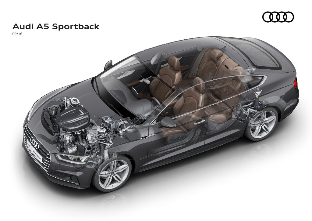 Audi A5 Sportback - implantation longitudinale du moteur